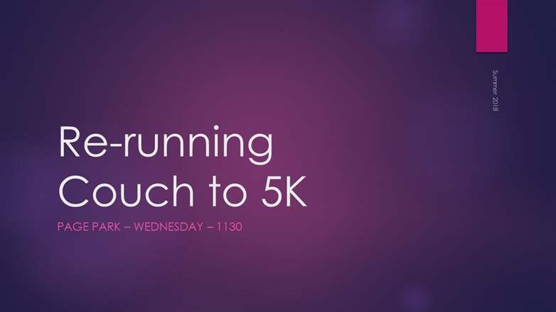 Page Park Community Café - Re-running Couch to 5K